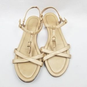 J. Crew Gold Strappy Buckle Sandals